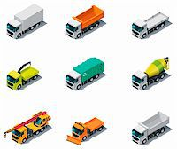 snow plow truck - Set of isometric generic trucks (different types) Stock Photo - Royalty-Freenull, Code: 400-05939161