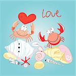 funny love crabs on a blue background with shells Stock Photo - Royalty-Free, Artist: tanor                         , Code: 400-05939186