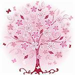 Decorative pink spring tree with flowers, leaves and butterflies (vector EPS 10) Stock Photo - Royalty-Free, Artist: OlgaDrozd                     , Code: 400-05939252