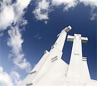 Crosses on the sky background, in Vilnius. Clouds, deep blue sky Stock Photo - Royalty-Freenull, Code: 400-05939368