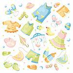 vector set of baby clothing and accessories Stock Photo - Royalty-Free, Artist: SelenaMay                     , Code: 400-05939372