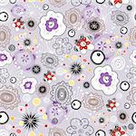 bright abstract pattern with flowers on purple background Stock Photo - Royalty-Free, Artist: tanor                         , Code: 400-05939429