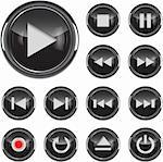 Black glossy multimedia control button/icon set. Vector illustration Stock Photo - Royalty-Free, Artist: gorgrigo                      , Code: 400-05939458