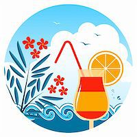 flores - vector cocktail on the beach, oleander and waves, Adobe Illustrator 8 format Stock Photo - Royalty-Freenull, Code: 400-05944023