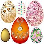 Set colorful Easter`s eggs isolated on white (vector EPS 10) Stock Photo - Royalty-Free, Artist: OlgaDrozd                     , Code: 400-05946475