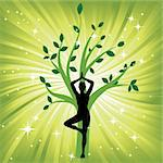 Woman in yoga tree asana sport on wave background. Man silhouette pose in front of leaves. Energy medicine vector illustration. Element for design. Stock Photo - Royalty-Free, Artist: svetap                        , Code: 400-05946519