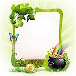 Mirror frame for St. Patrick's Day with clover and coins Stock Photo - Royalty-Free, Artist: Merlinul                      , Code: 400-05946558