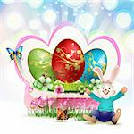 Easter card with red eggs and bunny Stock Photo - Royalty-Free, Artist: Merlinul                      , Code: 400-05946567
