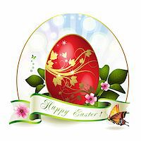 Easter card with red egg and butterfly Stock Photo - Royalty-Freenull, Code: 400-05946573