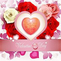 Heart over floral background with roses Stock Photo - Royalty-Freenull, Code: 400-05946575