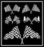 Checkered Flags set illustration on black background. Stock Photo - Royalty-Free, Artist: sermax55                      , Code: 400-05946606