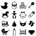 Baby icon set in black Stock Photo - Royalty-Free, Artist: soleilc                       , Code: 400-05946784