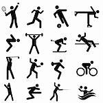 Sports and athletics icon set in black Stock Photo - Royalty-Free, Artist: soleilc                       , Code: 400-05946789