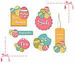 Easter painting egg sales set background. Vector file layered for easy manipulation and custom coloring.