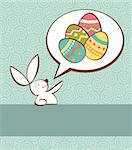 One Easter bunny with painted eggs in a social speech dialogue bubble in pastel colors.Vector file layered for easy manipulation and custom coloring. Stock Photo - Royalty-Free, Artist: cienpiesnf                    , Code: 400-05946887