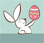 One Easter bunny with painted Easter egg in the hand on pastel green background. Vector file layered for easy manipulation and custom coloring. Stock Photo - Royalty-Free, Artist: cienpiesnf                    , Code: 400-05946889