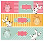 Easter egg in tribal style and rabbit banner background set. Vector file layered for easy manipulation and custom coloring.