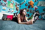 Teenage Girl Lying in Bed Reading Stock Photo - Premium Rights-Managed, Artist: ableimages, Code: 822-05948690