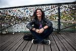 Smiling Woman Posing in front of Love Locks on the Pont des Arts, Paris Stock Photo - Premium Rights-Managed, Artist: ableimages, Code: 822-05948693