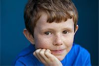 Portrait of Boy with Hand on Chin Stock Photo - Premium Rights-Managednull, Code: 822-05948857