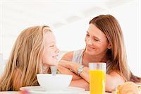 Mother talking to daughter at breakfast Stock Photo - Premium Royalty-Freenull, Code: 649-05949955