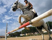 Woman riding horse over hurdle Stock Photo - Premium Royalty-Freenull, Code: 649-05950829