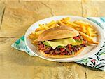 Beef Brisket Sandwich with Fries Stock Photo - Premium Royalty-Freenull, Code: 6106-05951607