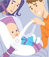 Baby in Safety Seat. Stock Photo - Premium Royalty-Freenull, Code: 6106-05952333