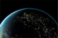 Planet earth with lights of Europe at night Stock Photo - Premium Royalty-Freenull, Code: 614-05955538