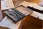 Tool box on cardboard box Stock Photo - Premium Royalty-Freenull, Code: 698-05959285