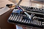 Tool box on cardboard box Stock Photo - Premium Royalty-Freenull, Code: 698-05959287