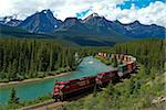 Morants Curve, Bow River, Canadian Pacific Railway, near Lake Louise, Banff National Park, UNESCO World Heritage Site, Alberta, Rocky Mountains, Canada, North America Stock Photo - Premium Rights-Managed, Artist: Robert Harding Images, Code: 841-05960413