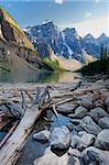 Log jam on Moraine Lake, Banff National Park, UNESCO World Heritage Site, Alberta, Rocky Mountains, Canada, North America Stock Photo - Premium Rights-Managed, Artist: Robert Harding Images, Code: 841-05961787