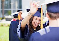 Students smiling together outdoors Stock Photo - Premium Royalty-Freenull, Code: 635-05971519