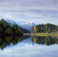 snow capped - Mountains and trees reflected in still lake Stock Photo - Premium Royalty-Freenull, Code: 635-05972809
