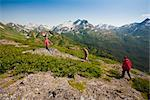 Visitors hiking on ridge in Kenai Mountains near Homer, Kenai Penninsula, Alaska, Summer Stock Photo - Premium Rights-Managed, Artist: AlaskaStock, Code: 854-05974156