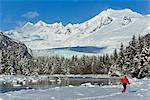 Person cross-country skiing in a winter landscape at Mendenhall River with Mendenhall Glacier and Towers in the background, Tongass National Forest, Southeast Alaska Stock Photo - Premium Rights-Managed, Artist: AlaskaStock, Code: 854-05974165