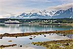 View from Portage Cove of Haines and Ft. Seward with a cruise ship docked in the harbor, Southeast Alaska, Summer Stock Photo - Premium Rights-Managed, Artist: AlaskaStock, Code: 854-05974283