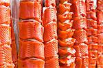 Subsistance caught Bristol Bay Sockeye salmon drying on a rack, Iliamna, Southwest Alaska, Summer Stock Photo - Premium Rights-Managed, Artist: AlaskaStock, Code: 854-05974433