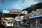 The welcome arch of Ketchikan and colorful giftshops in downtown Ketchikan, Southeast Alaska, Summer Stock Photo - Premium Rights-Managed, Artist: AlaskaStock, Code: 854-05974499