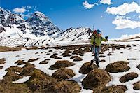 quest - Female backpacker crossing snow and tundra tussocks above Babel River, below South Buttress on the western flanks of the Revelation Mountains, Summer in Southcentral Alaska Stock Photo - Premium Rights-Managednull, Code: 854-05974573