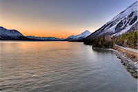 small town snow - Scenic view of the Hope Highway along Turnagain Arm at sunrise, Kenai Peninsula, Southcentral, Alaska, Spring, HDR Stock Photo - Premium Rights-Managednull, Code: 854-05974577