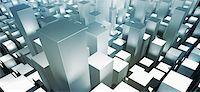 rectangle - Metallic gray three dimensional rectangular shapes Stock Photo - Premium Royalty-Freenull, Code: 653-05976165