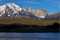 View of the Torres del Paine, Parque Nacional Torres del Paine, Patagonia, Chile Stock Photo - Premium Royalty-Freenull, Code: 682-05977089