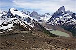 Distant views of Laguna Torre, Cerro Torre and Mt Fitz Roy, Parque Nacional Los Glaciares, El Chalten, Patagonia, Argentina Stock Photo - Premium Royalty-Free, Artist: Robert Harding Images, Code: 682-05977139