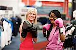 Two young women wearing boxing gloves and looking at the camera, Pietermaritzburg, KwaZulu-Natal, South Africa Stock Photo - Premium Royalty-Free, Artist: CulturaRM, Code: 682-05977178