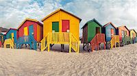 Beach bathing cubicles placed at the highwater mark, Muizenberg Beach, Cape Town, South Africa Stock Photo - Premium Royalty-Freenull, Code: 682-05977641