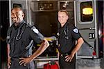 African American paramedic standing by ambulance with co-worker Stock Photo - Premium Rights-Managed, Artist: Kablonk! RM, Code: 842-05979867