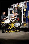 Paramedics caring for elderly patient on stretcher in ambulance at night Stock Photo - Premium Rights-Managed, Artist: Kablonk! RM, Code: 842-05979870