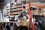 Senior man in woodworking shop working on wood project Stock Photo - Premium Rights-Managed, Artist: Kablonk! RM, Code: 842-05979991